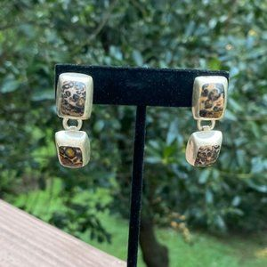 VTG 925 Sterling Taxco Mexico Agate Drop EARRINGS